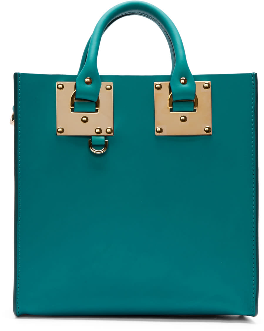 Sophie Hulme Teal Mini Albion Square Tote Bag