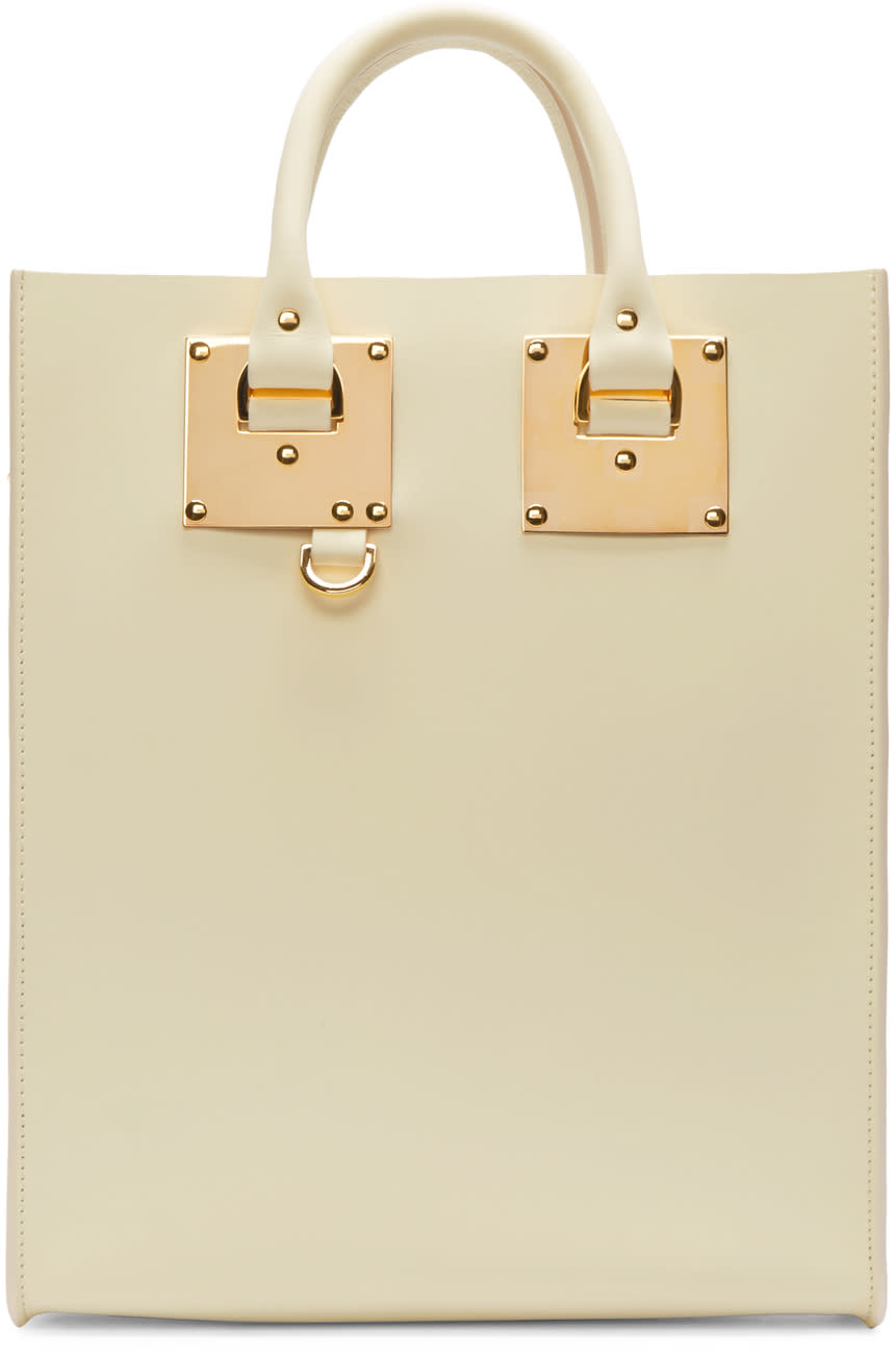 Sophie Hulme Cream Mini Albion Tote Bag