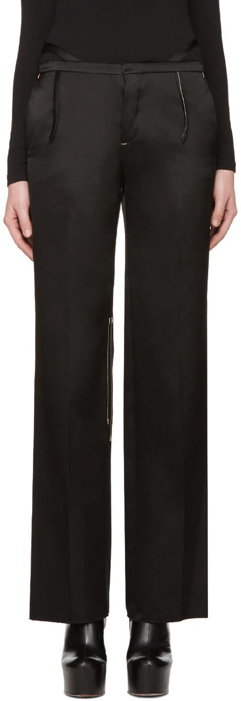 Calvin Klein Collection Black Satin Topstitched Gilgo Trousers