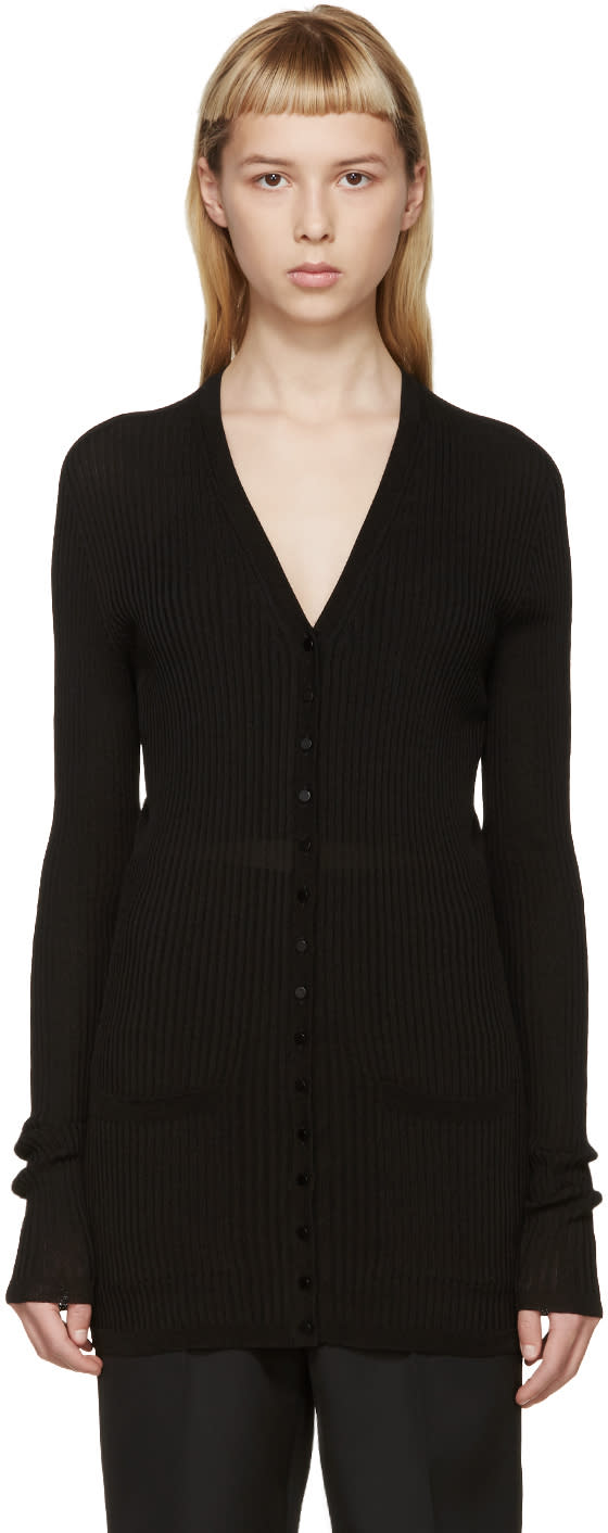 Calvin Klein Collection Black Ribbed Wulan Cardigan