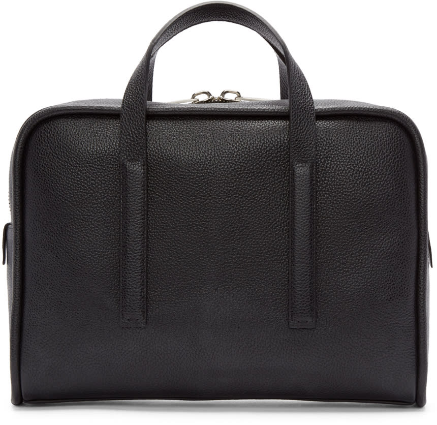Calvin Klein Collection Black Leather Commuter Briefcase