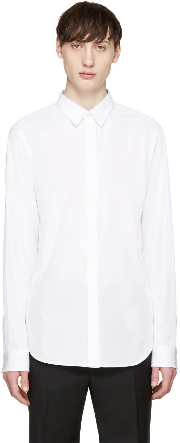 Calvin Klein Collection White Poplin Topstitched Shirt
