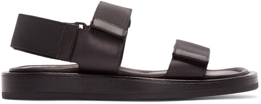 Calvin Klein Collection Black Leather Velcro Sandals