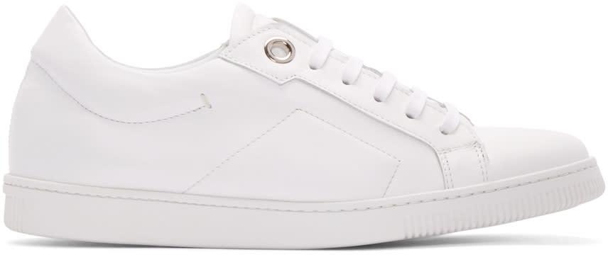Calvin Klein Collection White Leather Eyelet Sneakers