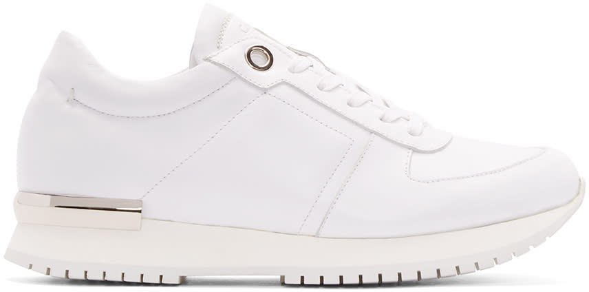 Calvin Klein Collection White and Silver Leather Sneakers