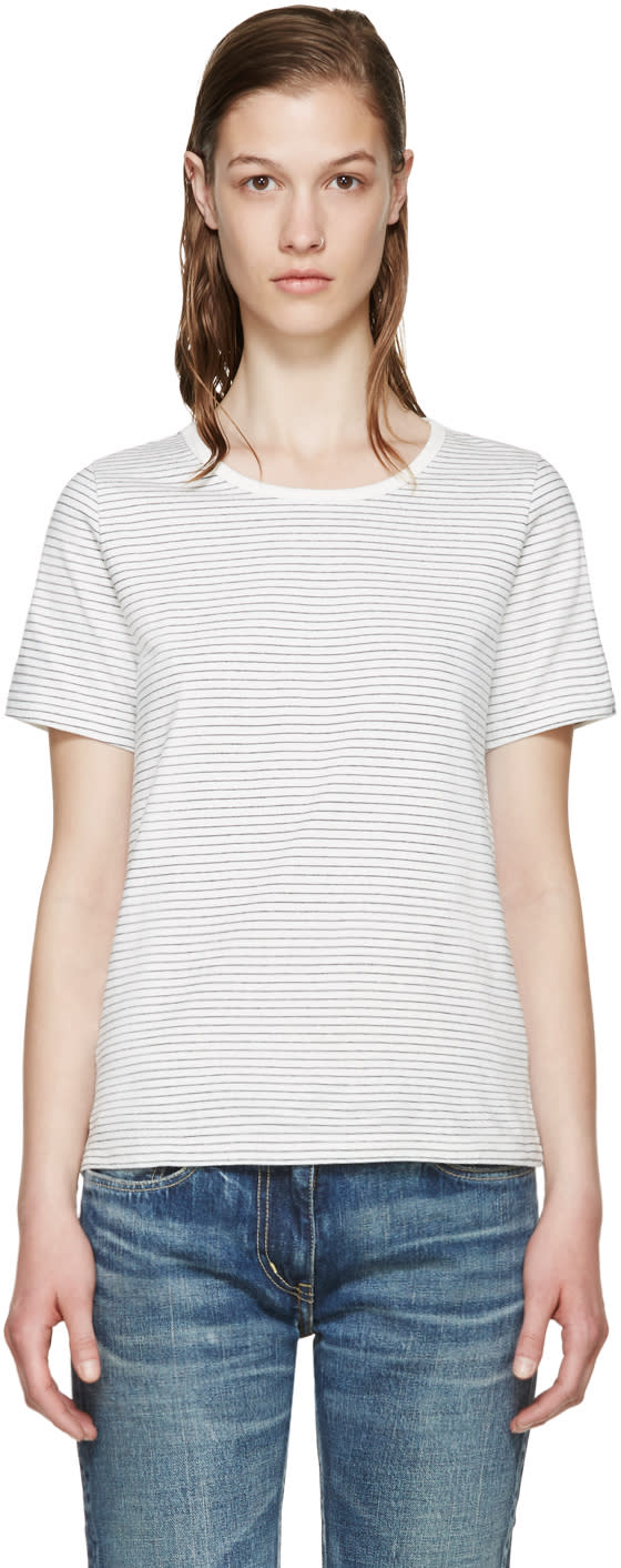 Visvim White Border Striped T-shirt