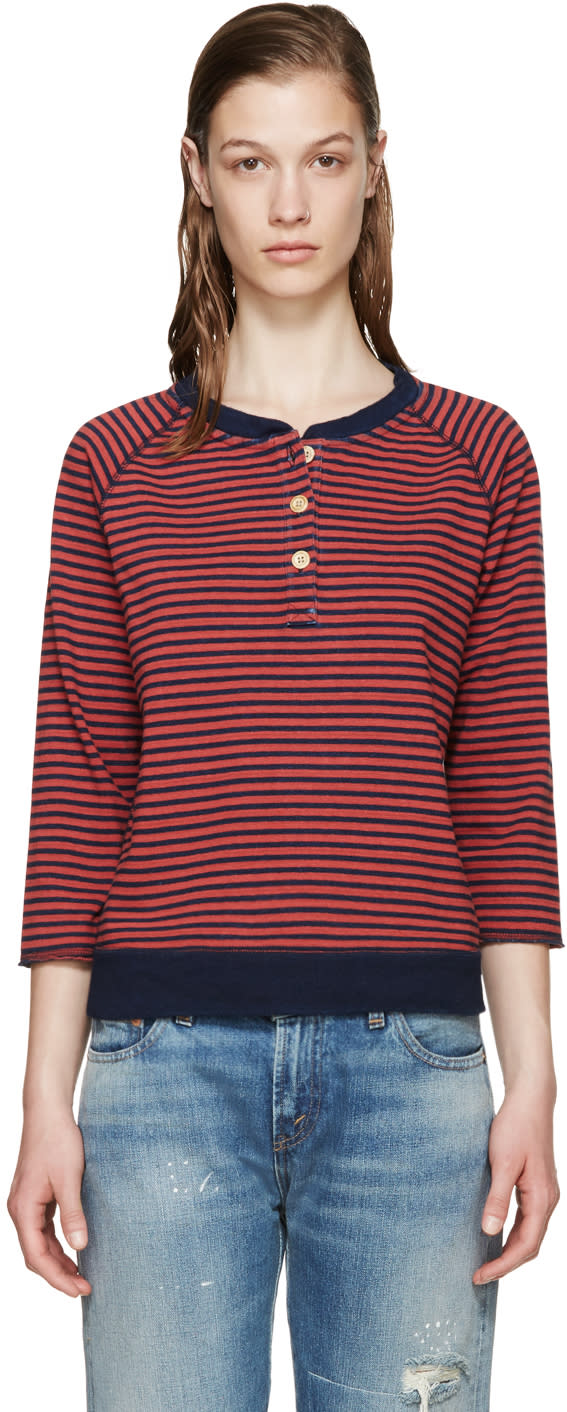 Visvim Red and Navy Striped Border Henley  Pullover