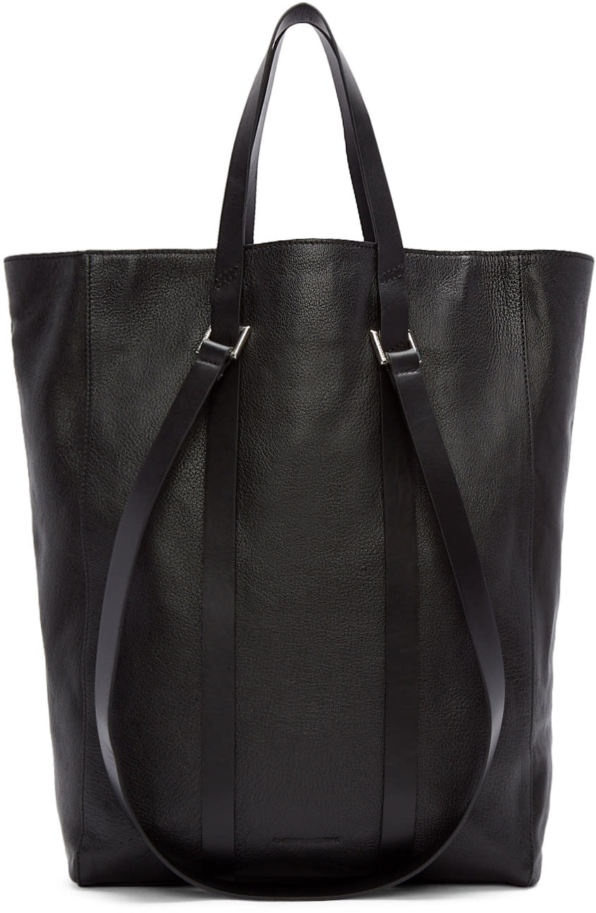 Costume National Black Straps Leather Tote