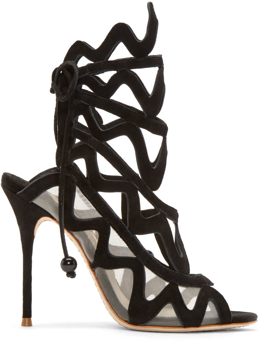 Sophia Webster Black Suede Mila Cage Sandals