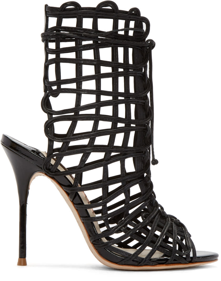 Sophia Webster Black Leather Delphine Heeled Sandals