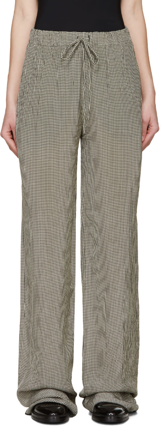 Yang Li Black and White Gingham Trousers