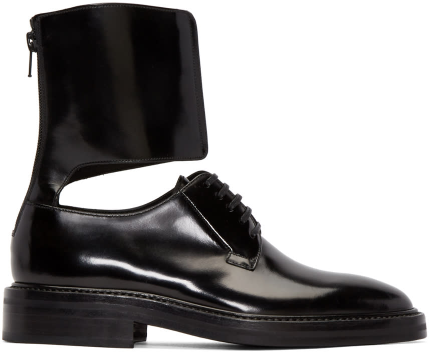 Yang Li Black Patent Leather Ankle Cuff Derbys