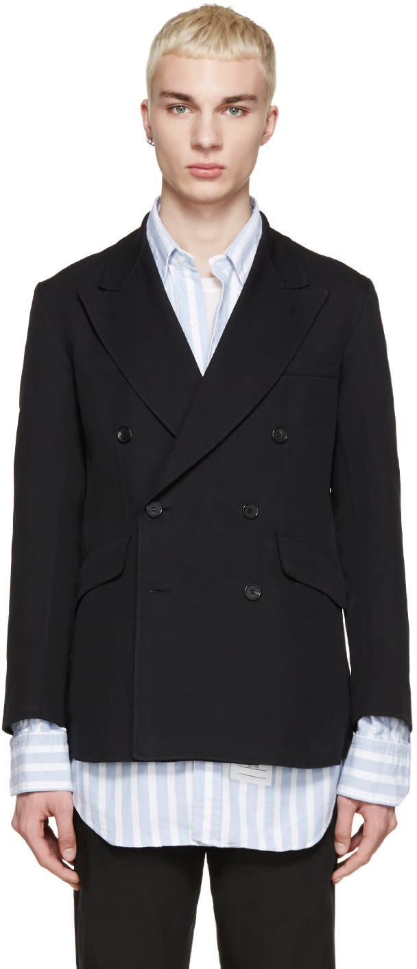 Yang Li Black Twill Double-breasted Blazer