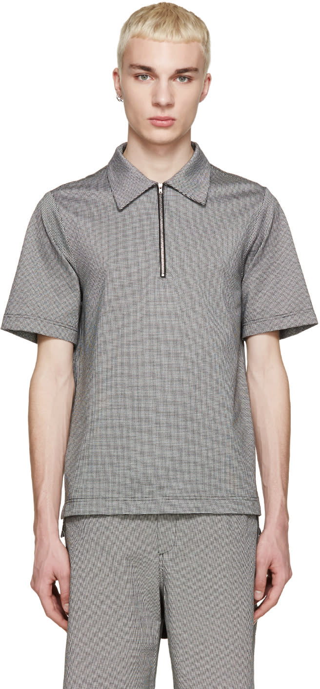 Yang Li Black and White Houndstooth Polo