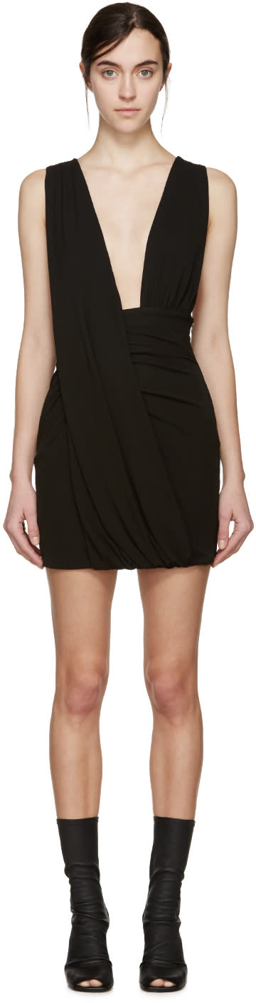 Anthony Vaccarello Black Draped Jersey Dress