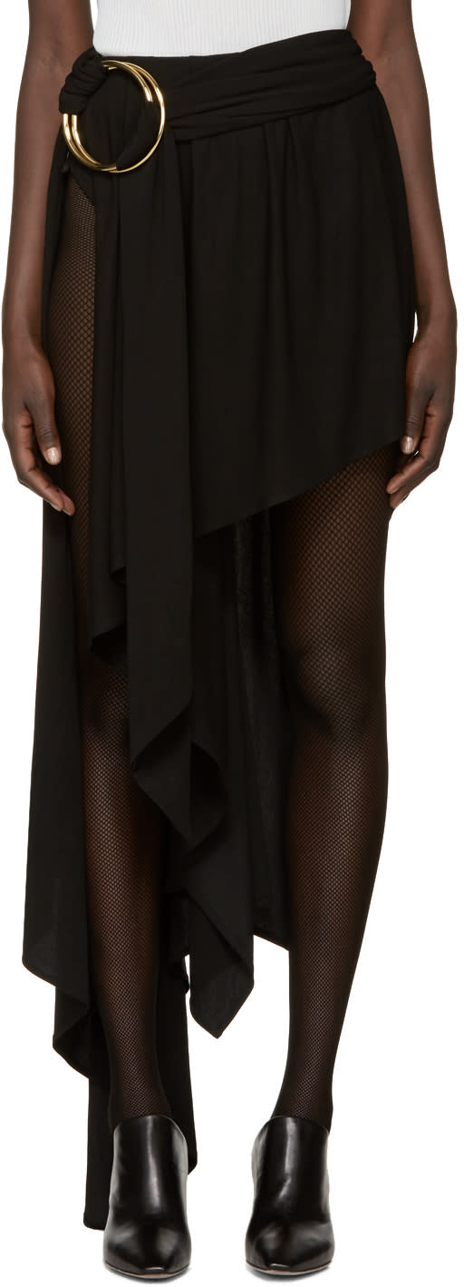 Anthony Vaccarello Black Asymmetric Double Hoop Skirt