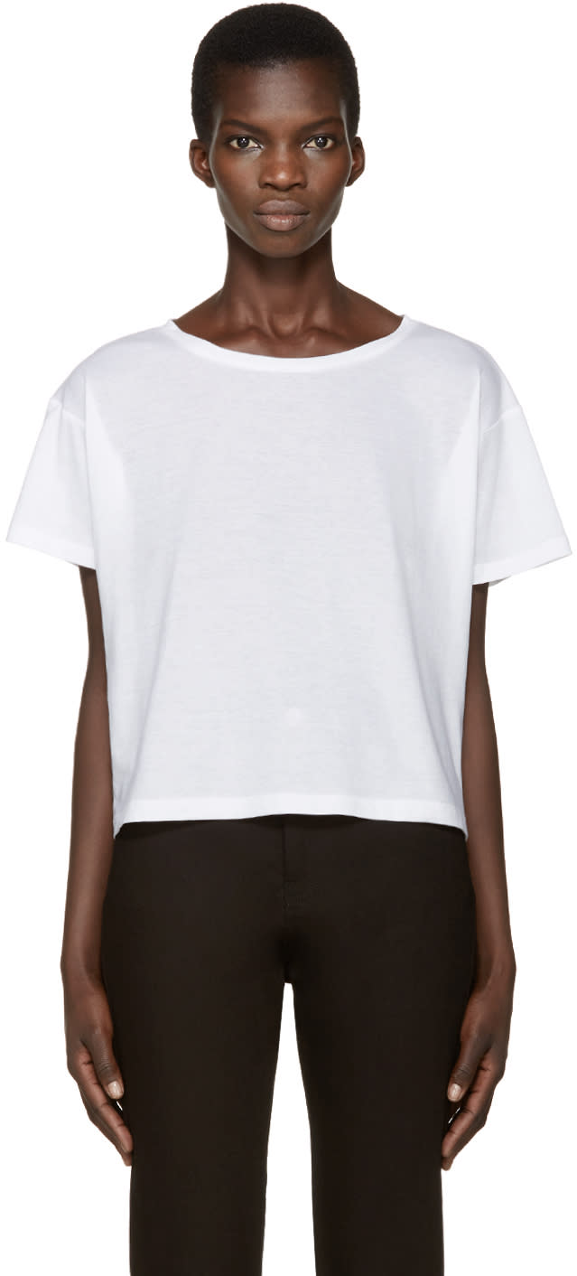 Anthony Vaccarello White Boatneck T-shirt