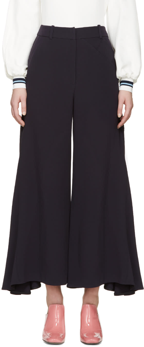 Peter Pilotto Navy Crepe Safari Culottes