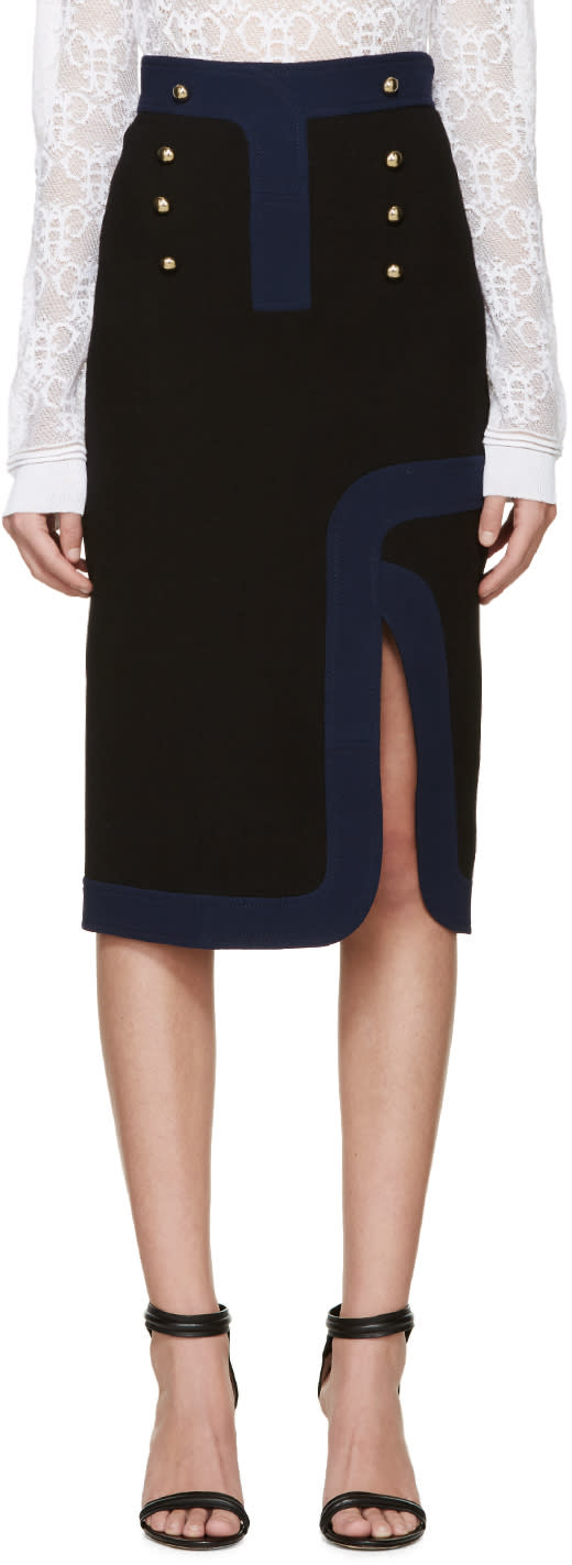 Peter Pilotto Black Wool Track Skirt