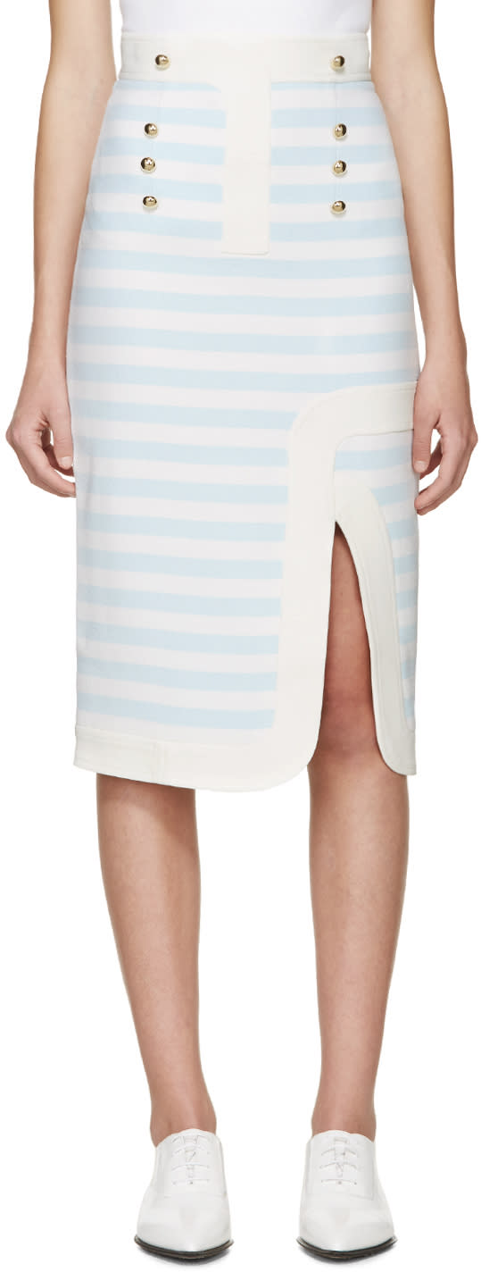 Peter Pilotto Blue and White Track Skirt