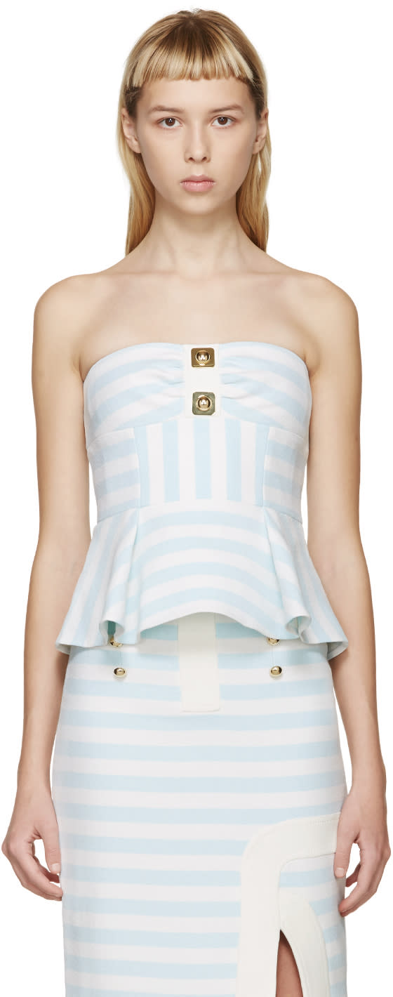 Peter Pilotto Blue and White Calypso Bustier