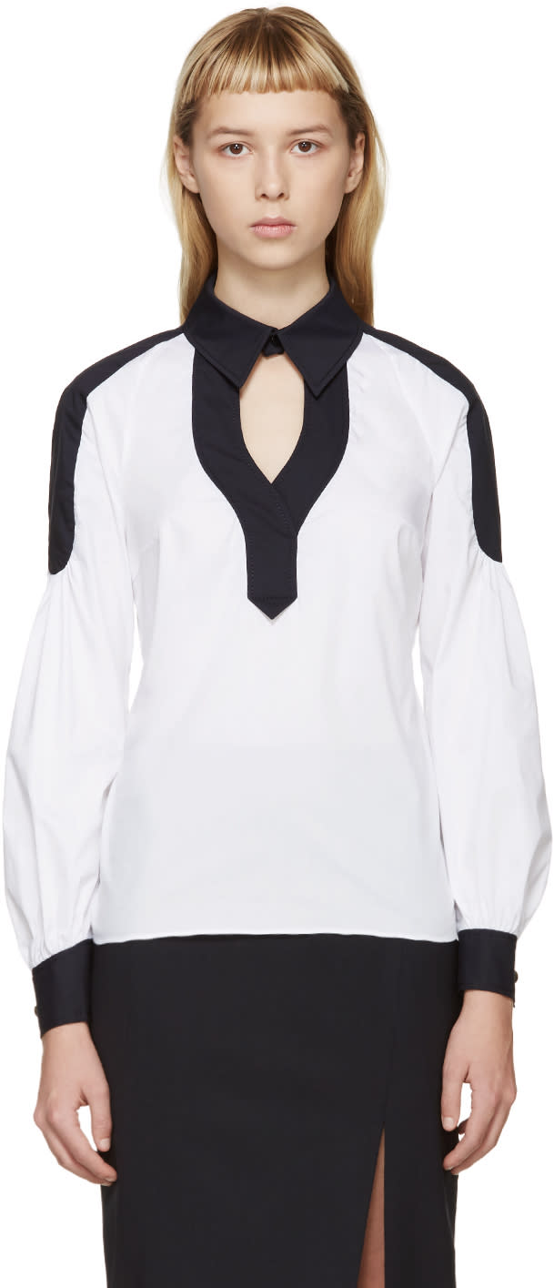 Peter Pilotto White and Navy Poplin Penta Shirt