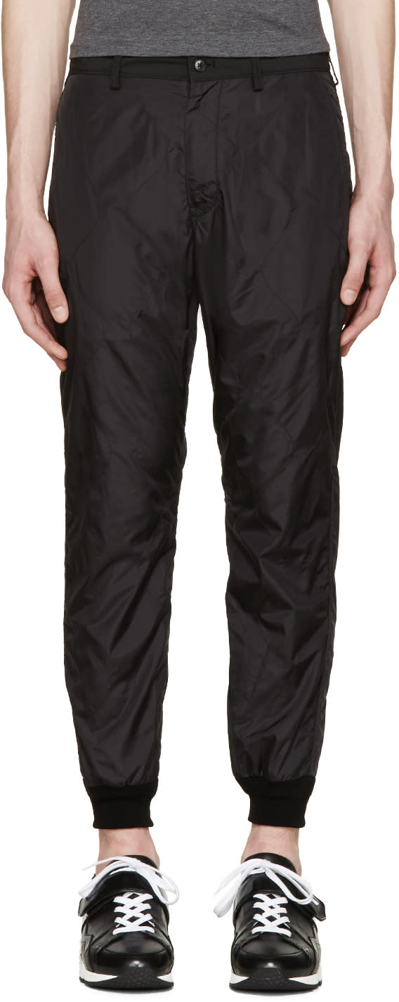 08sircus Black Quilted Nylon Trousers