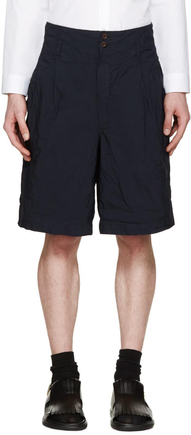 Kolor Navy Creased Nylon Shorts