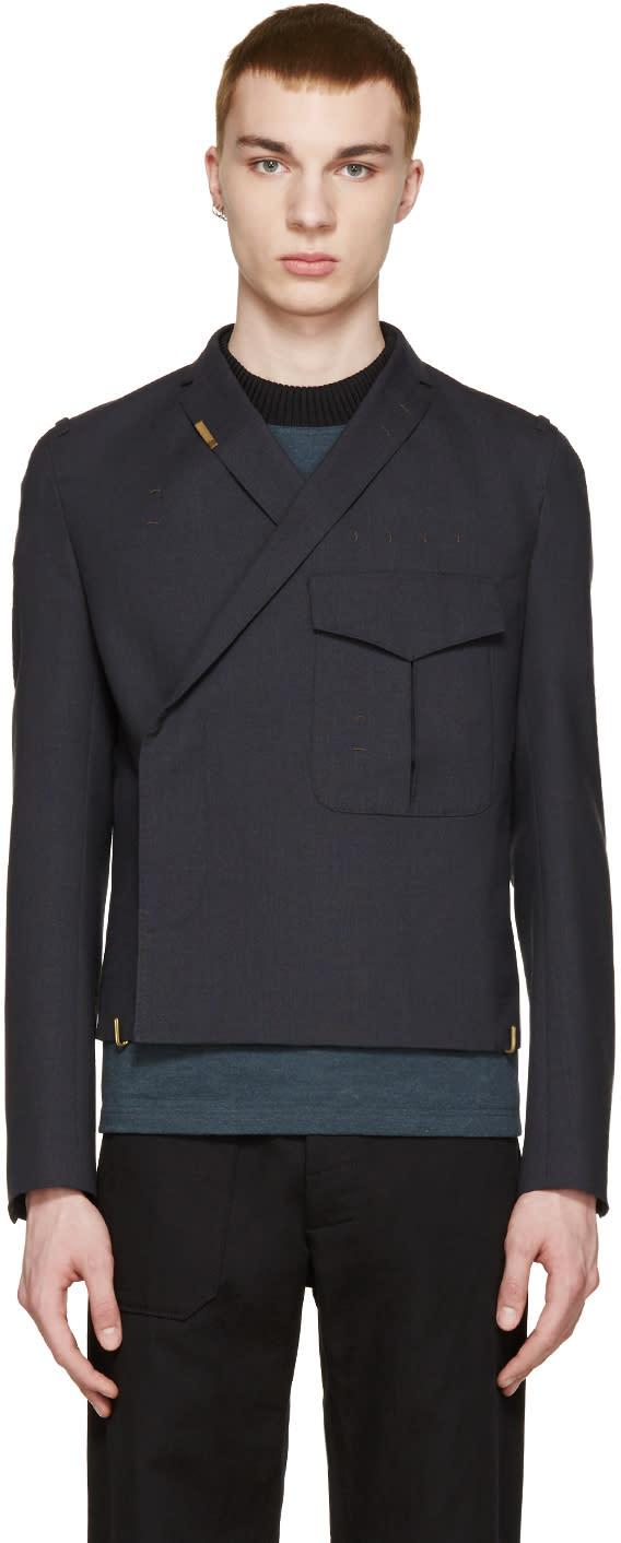 Kolor Navy Wool Pocket Blazer