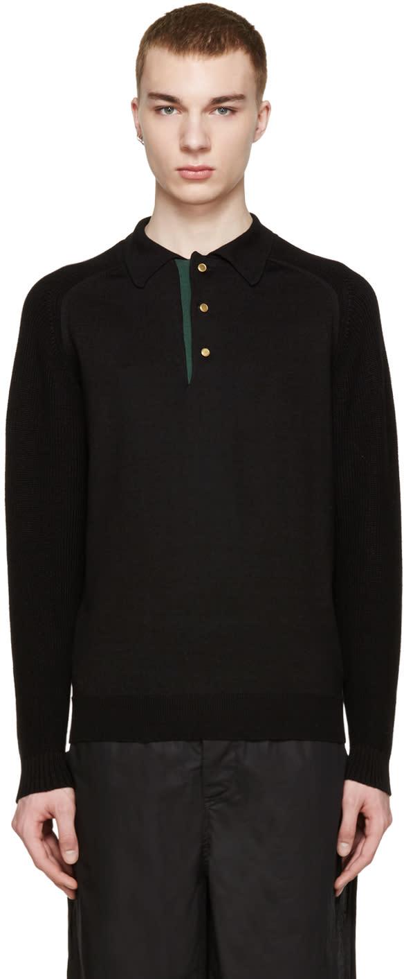 Kolor Black Knit Polo Sweater