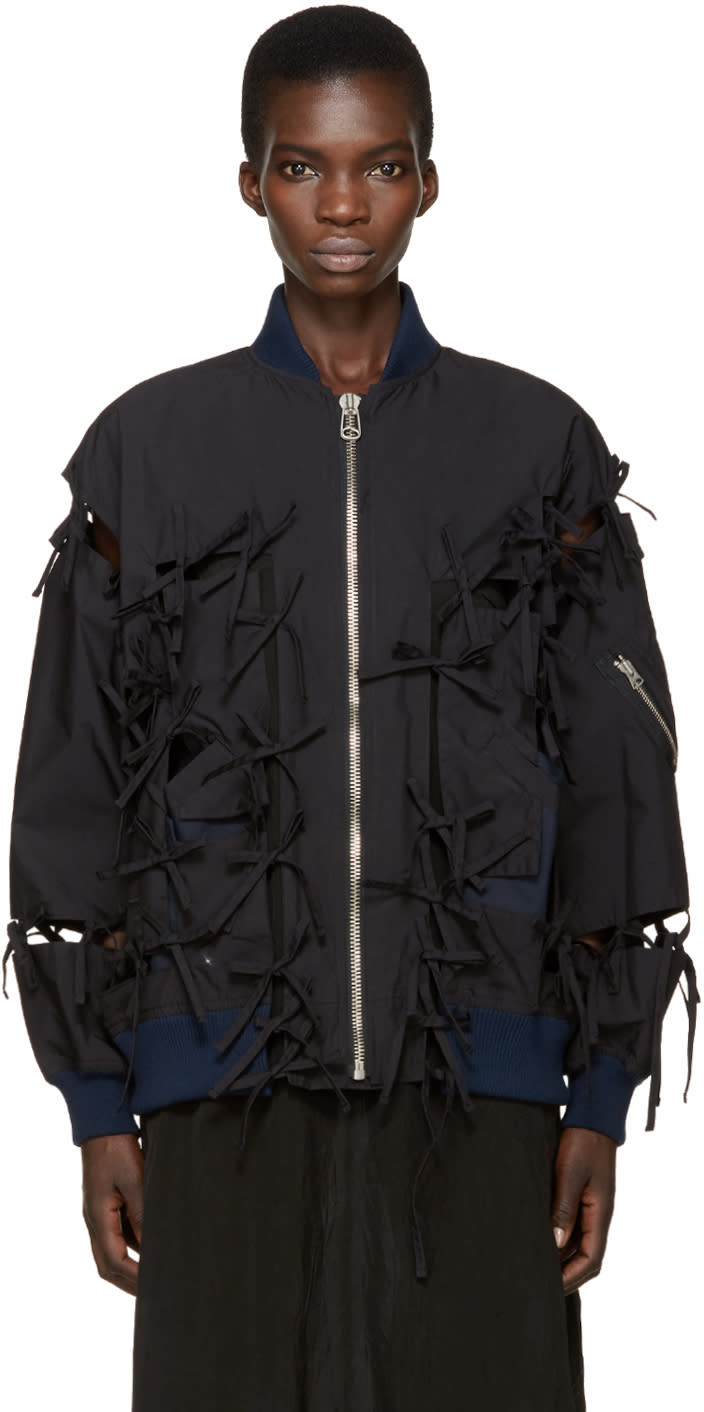 Facetasm Black and Navy Tie Bomber Jacket
