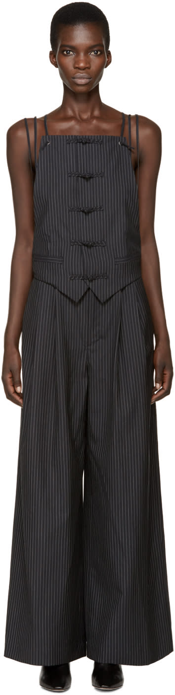 Image of Facetasm Black Wool Pinstripe Jumpsuit
