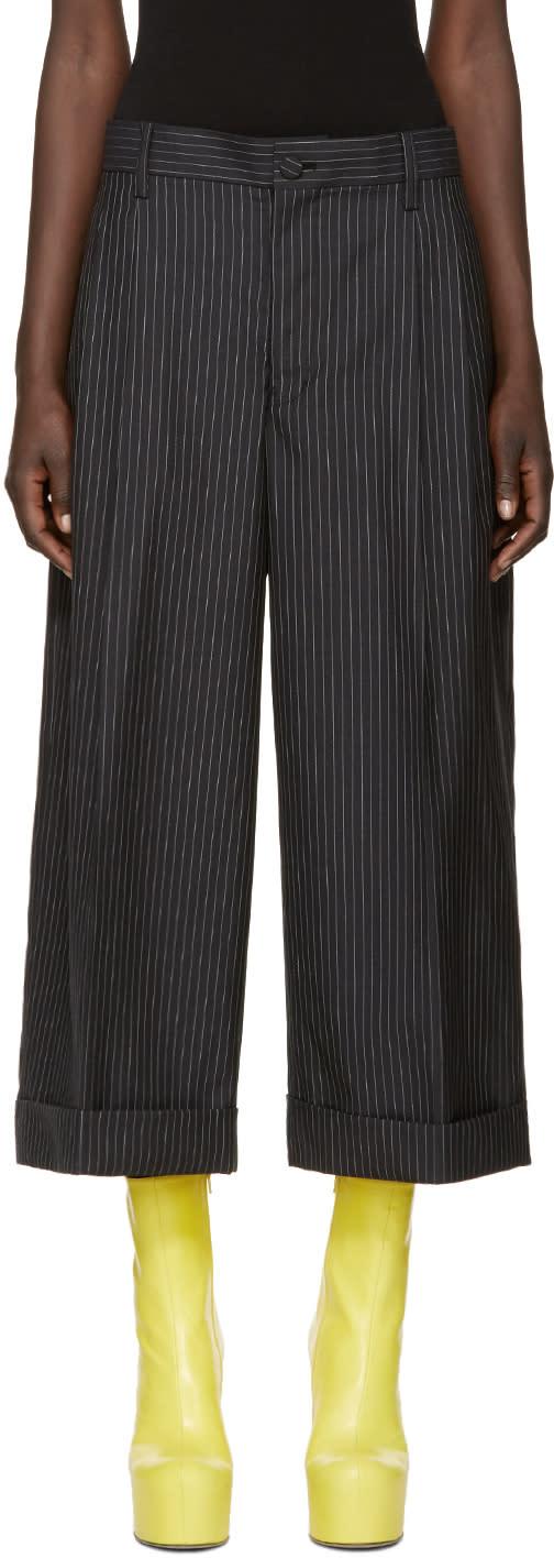 Facetasm Black Wool Pinstripe Trousers