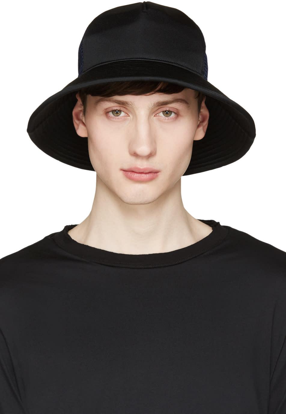 Facetasm Black and Navy Mesh Bucket Hat