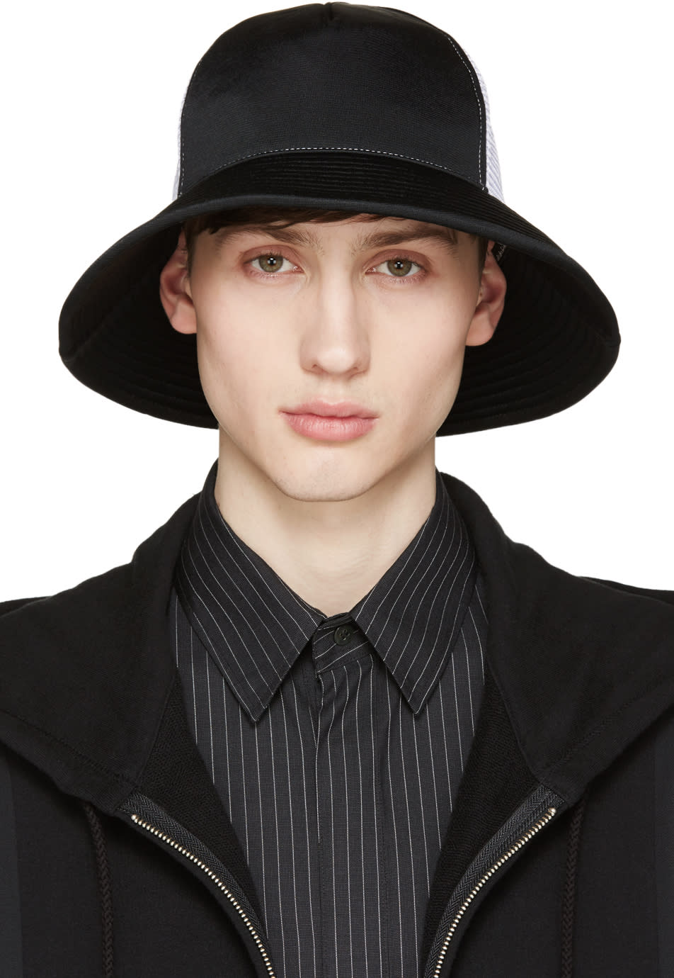 Facetasm Black and White Mesh Bucket Hat