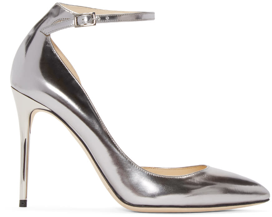Jimmy Choo Silver Mirrored Lucy Heels