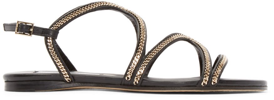 Jimmy Choo Black Leather Curb Chain Sandals