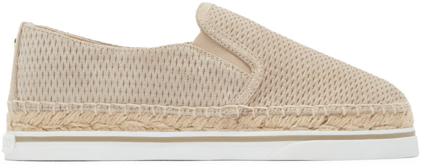Jimmy Choo Beige and Gold Suede Dawn Espadrilles