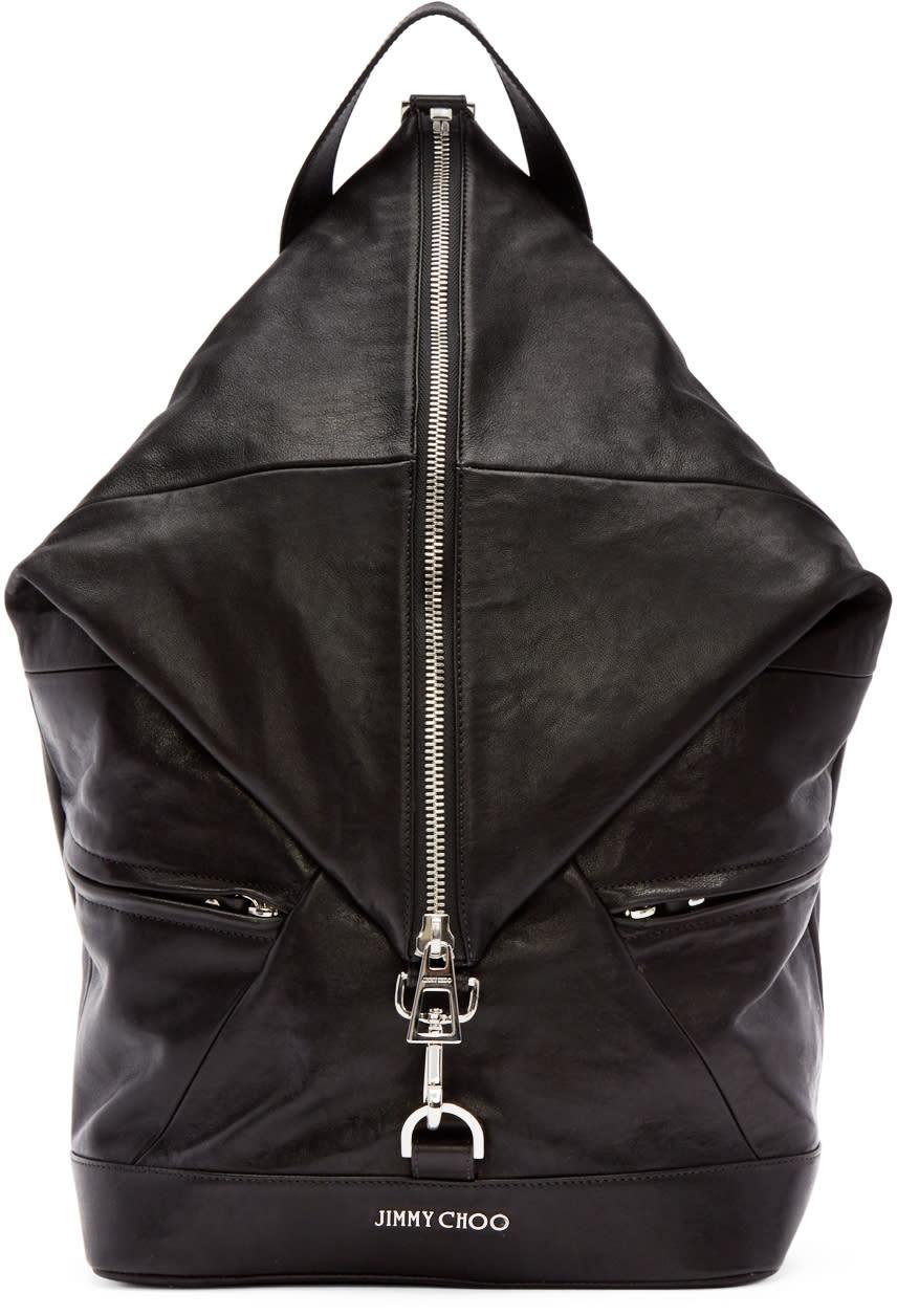Jimmy Choo Black Leather Fitzroy Biker Backpack