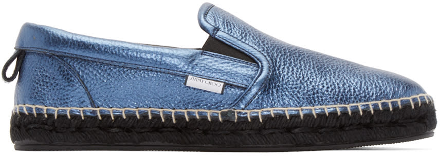 Jimmy Choo Blue Leather Metallic Vlad Espadrilles