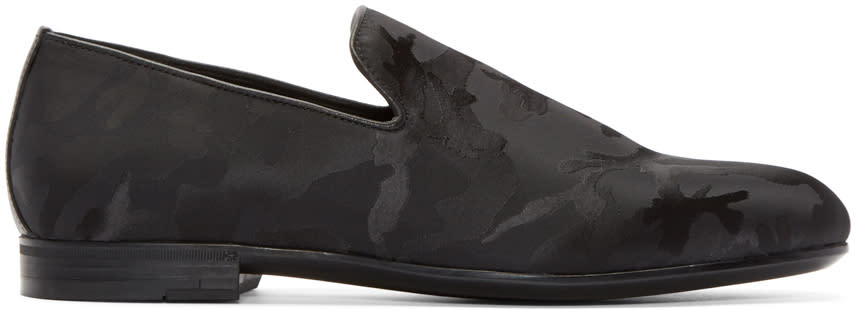 Jimmy Choo Black Camouflage Sloane Loafers