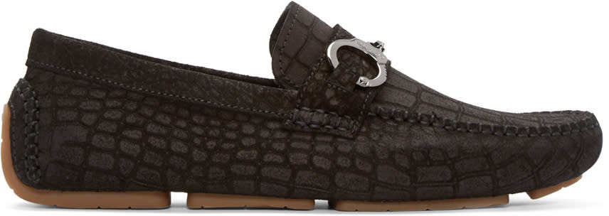 Jimmy Choo Black Croc Brogan Loafers