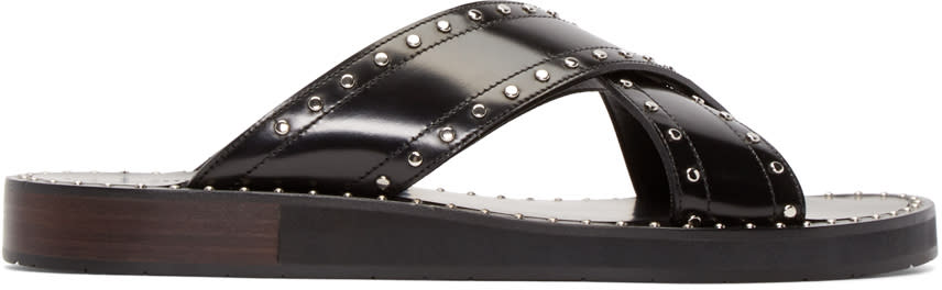 Jimmy Choo Black Leather Carl Sandals