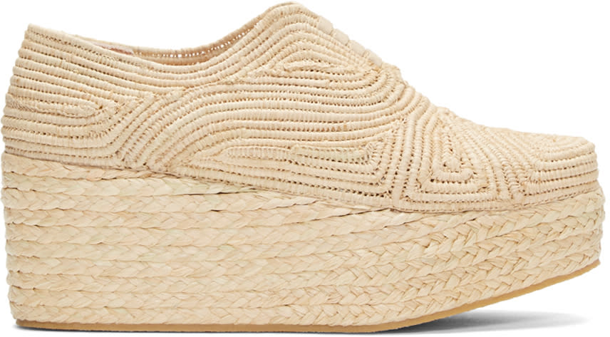 Robert Clergerie Tan Rafia Flatform Pinto Shoes