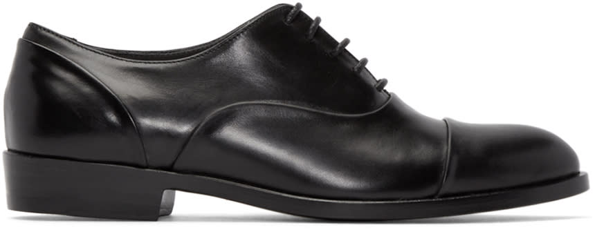 Robert Clergerie Black Leather Pier Oxfords