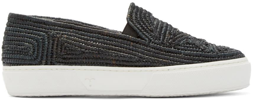 Robert Clergerie Black Raffia Tribal Slip-on Sneakers