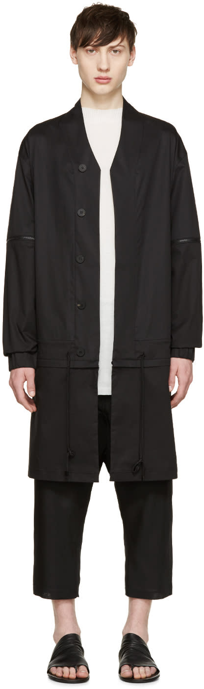 D.gnak By Kang.d Black Poplin Detachable Coat