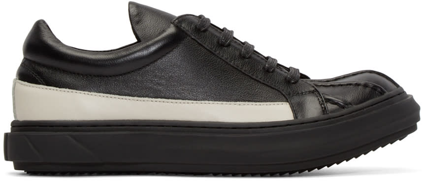 D.gnak By Kang.d Black and White Leather Band Sneakers