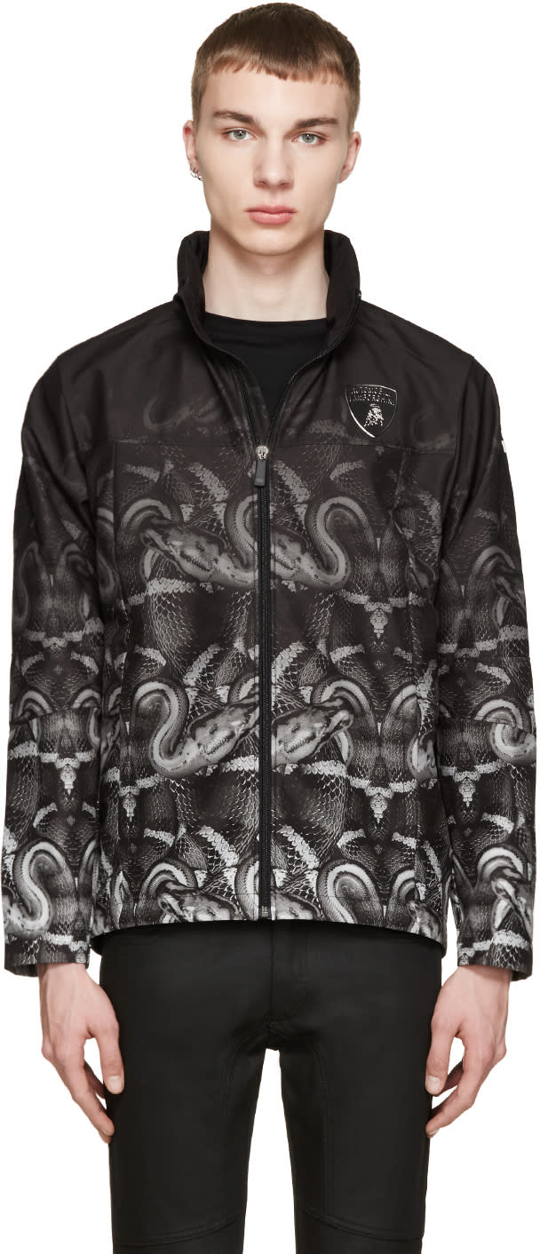 Marcelo Burlon County Of Milan Black and Green Lamborghini Snake Jacket