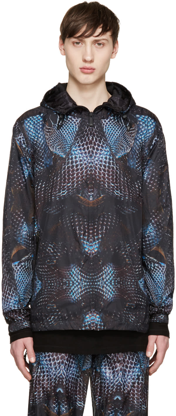 Image of Marcelo Burlon County Of Milan Black and Blue Potosi Windbreaker Jacket